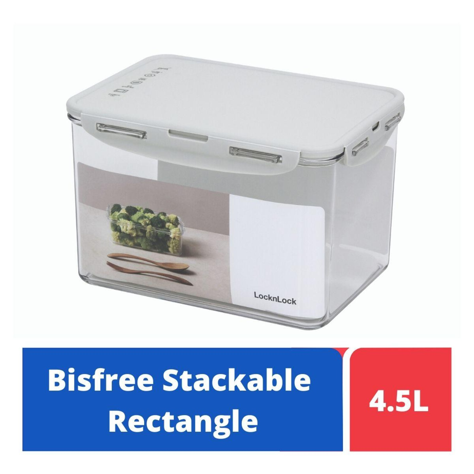 LOCK&LOCK Bisfree Rect Food Container 4.5L - Grey