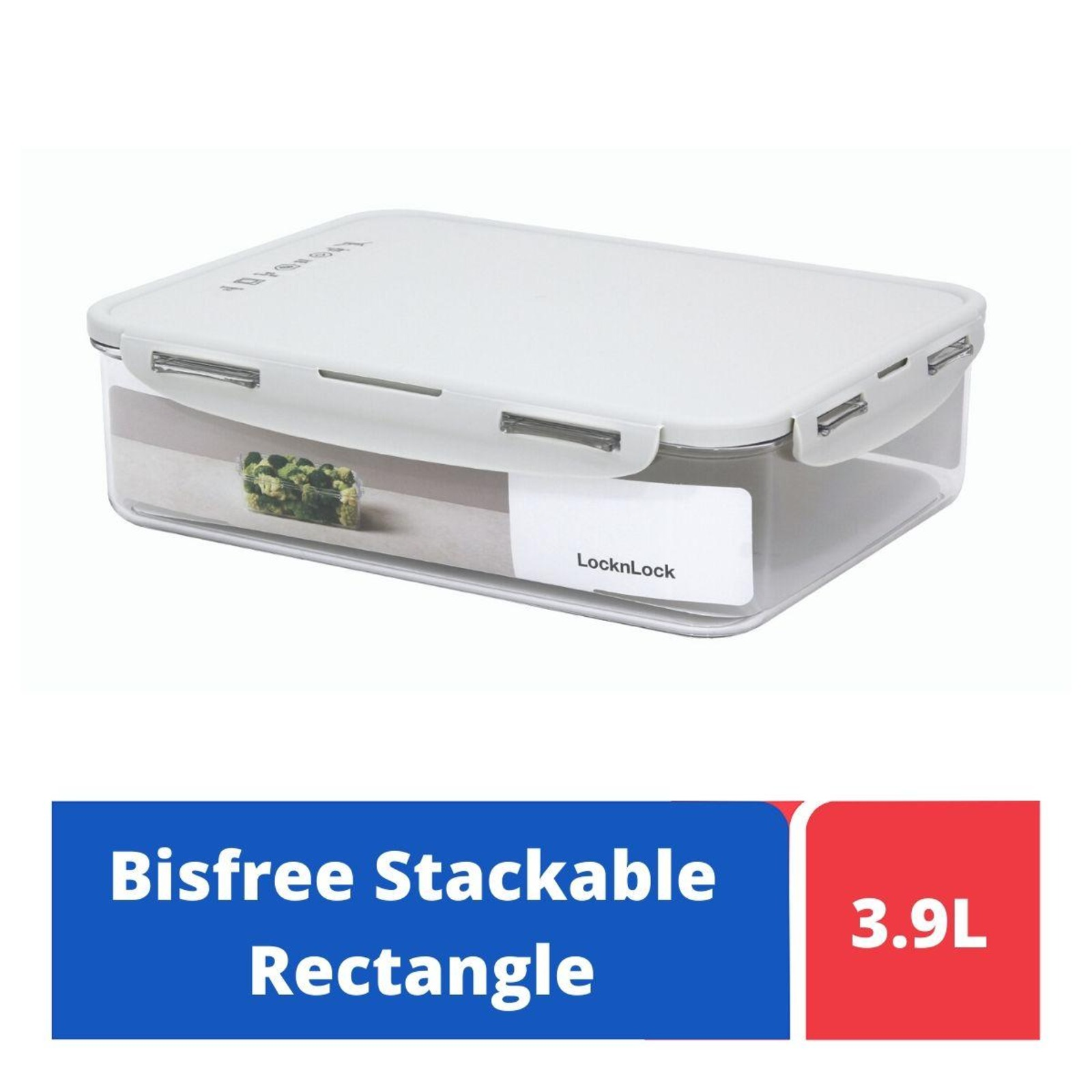 LOCK&LOCK Bisfree Rect Food Container 3.9L - Grey