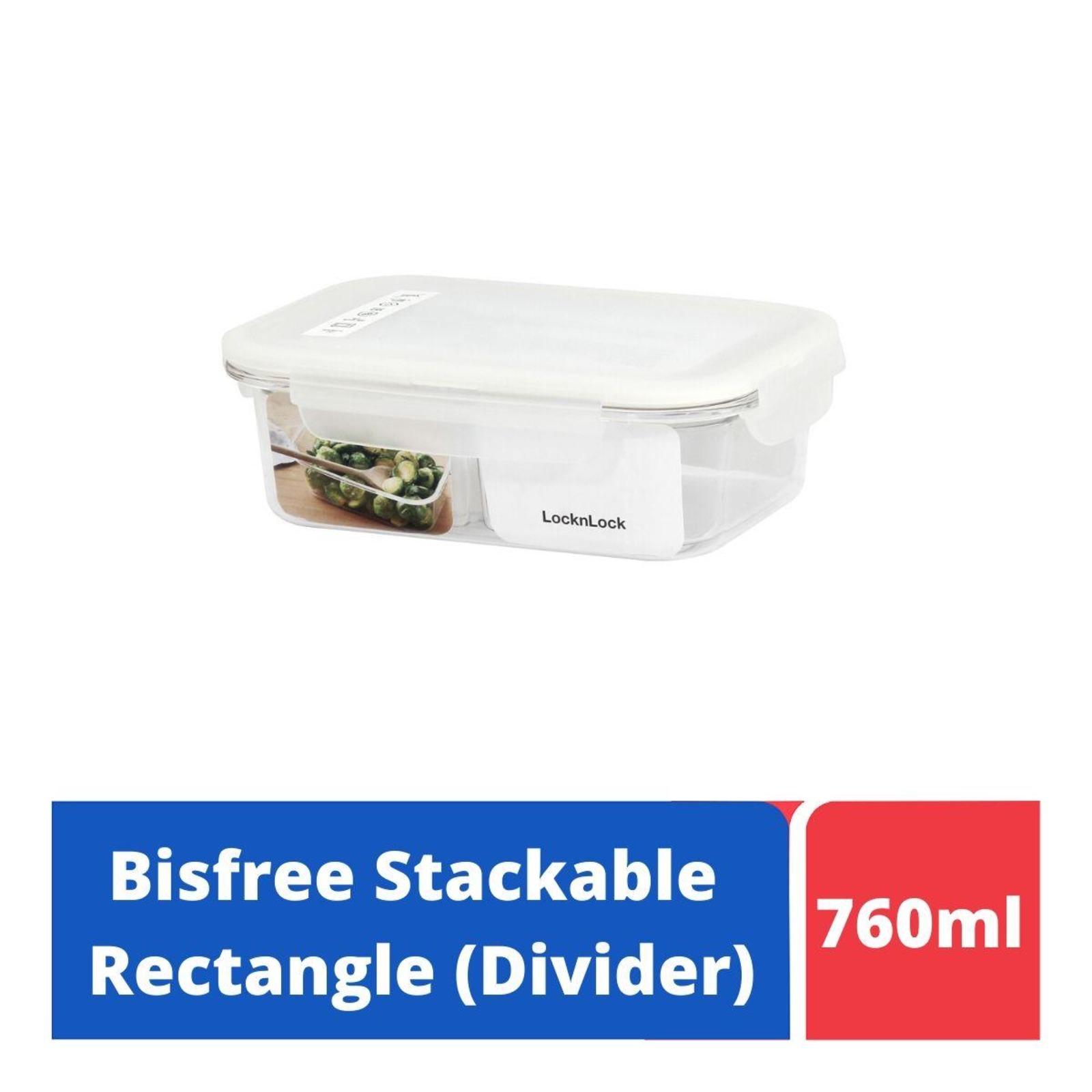 LOCK&LOCK Bisfree TableTop Container 760ml W/Divider-White