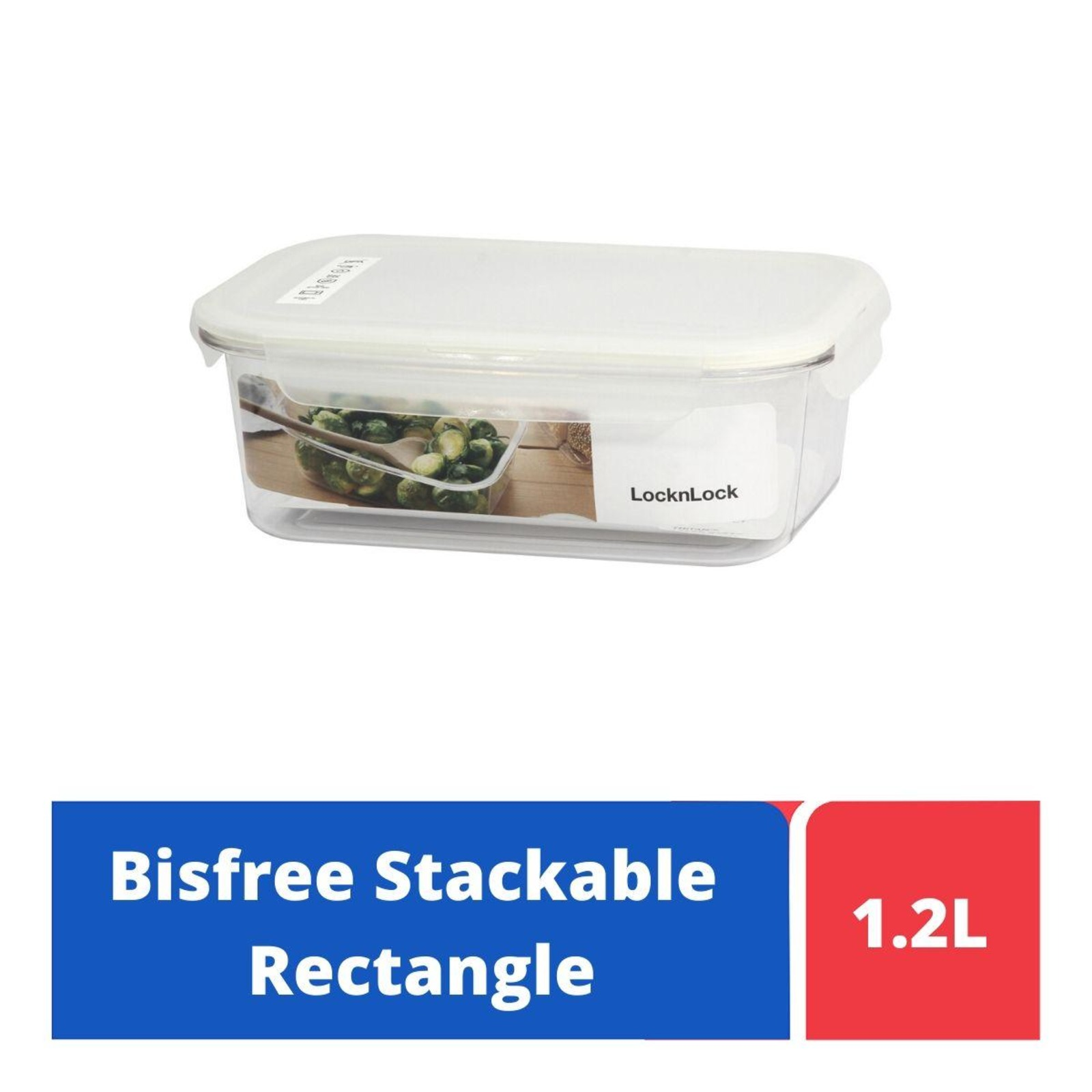 LOCK&LOCK Bisfree Table Top Rect Container 1.2L - White