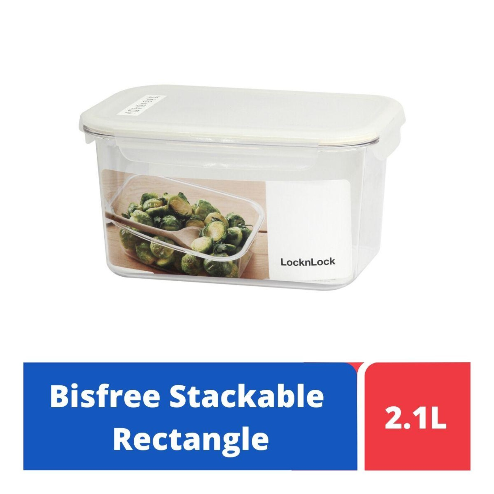 LOCK&LOCK Bisfree Table Top Rect Container 2.1L - White