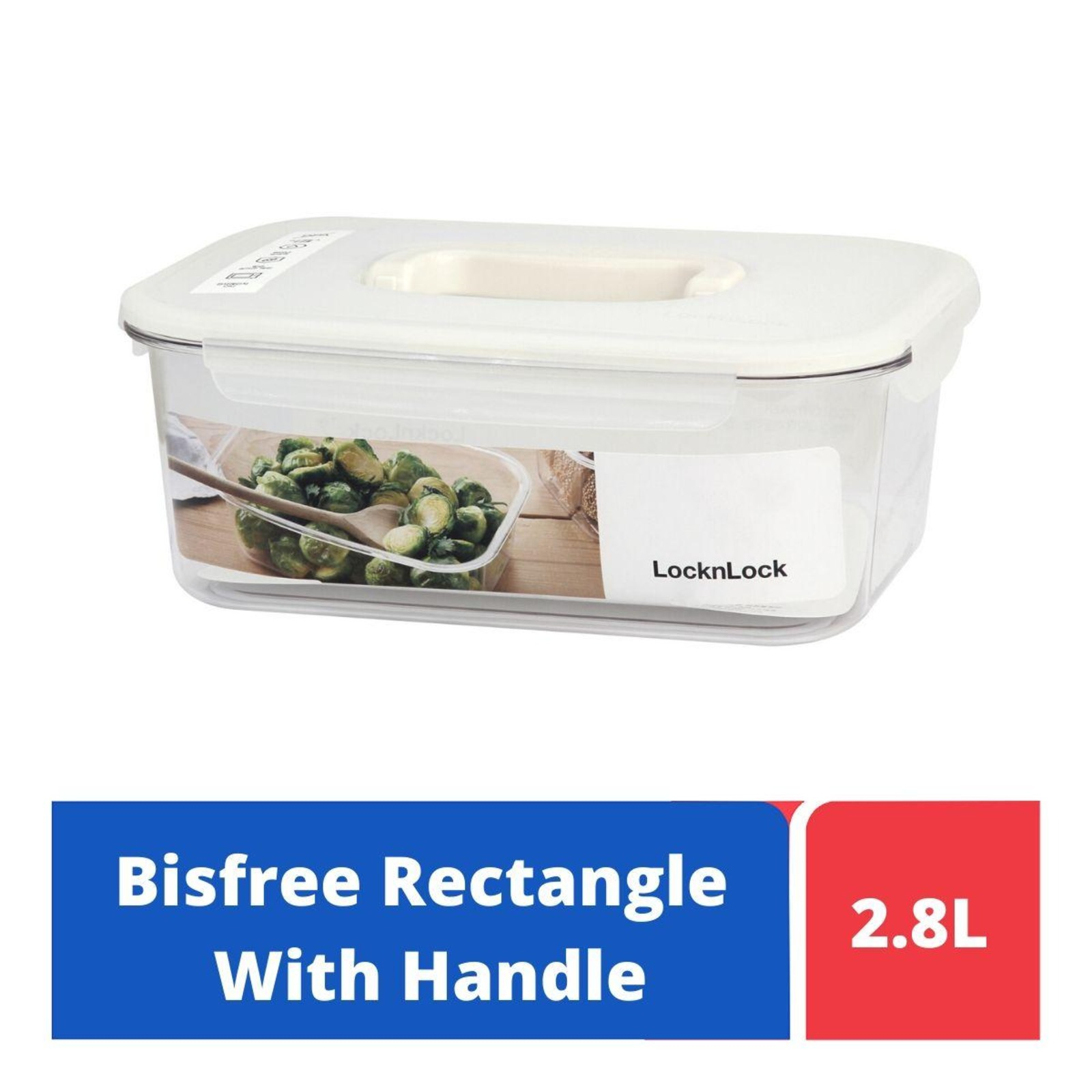 LOCK&LOCK Bisfree TableTop Rect Container W/Handle 2.8L-White