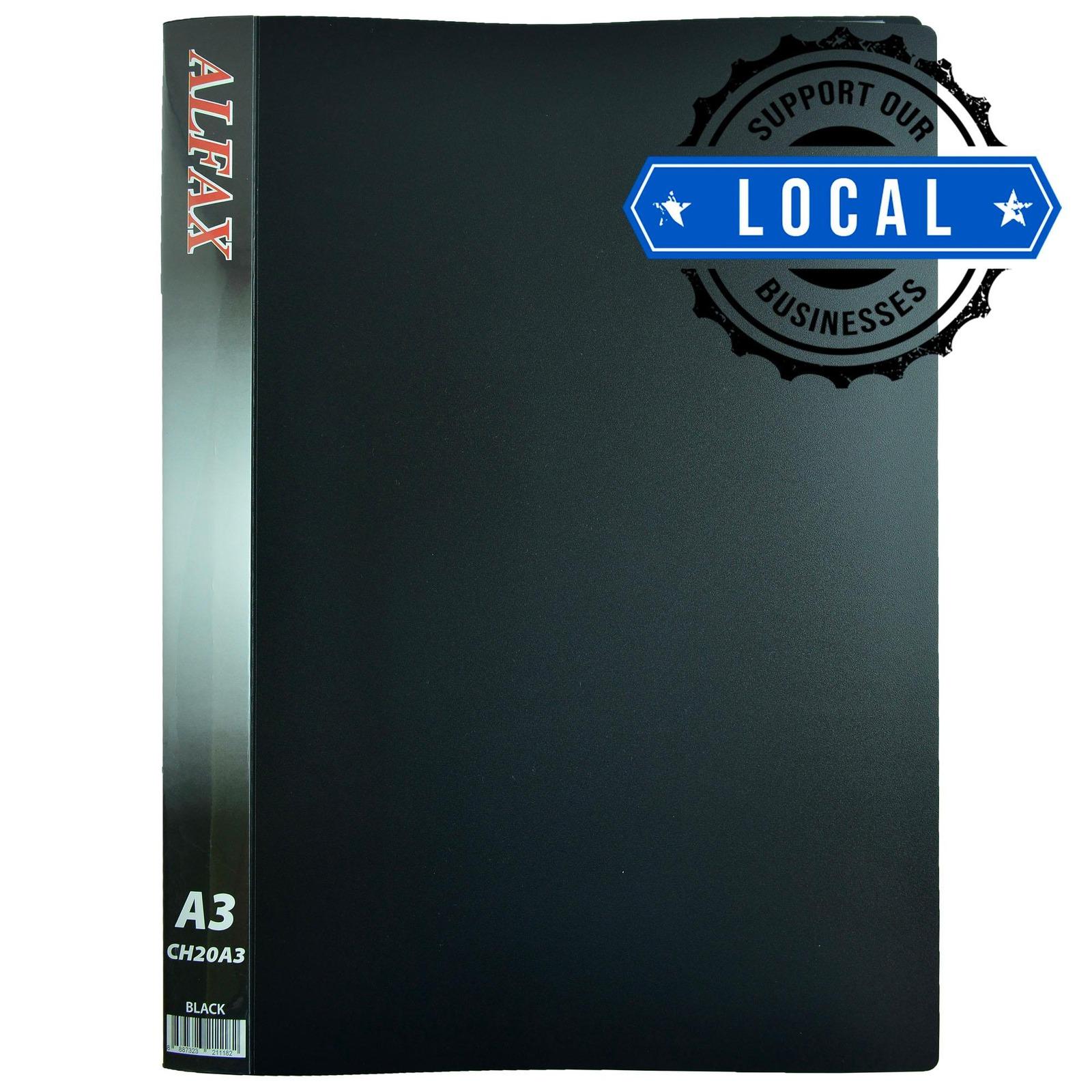 ALFAX CH20A3 Clear Holder 20 Pockets A3 Black