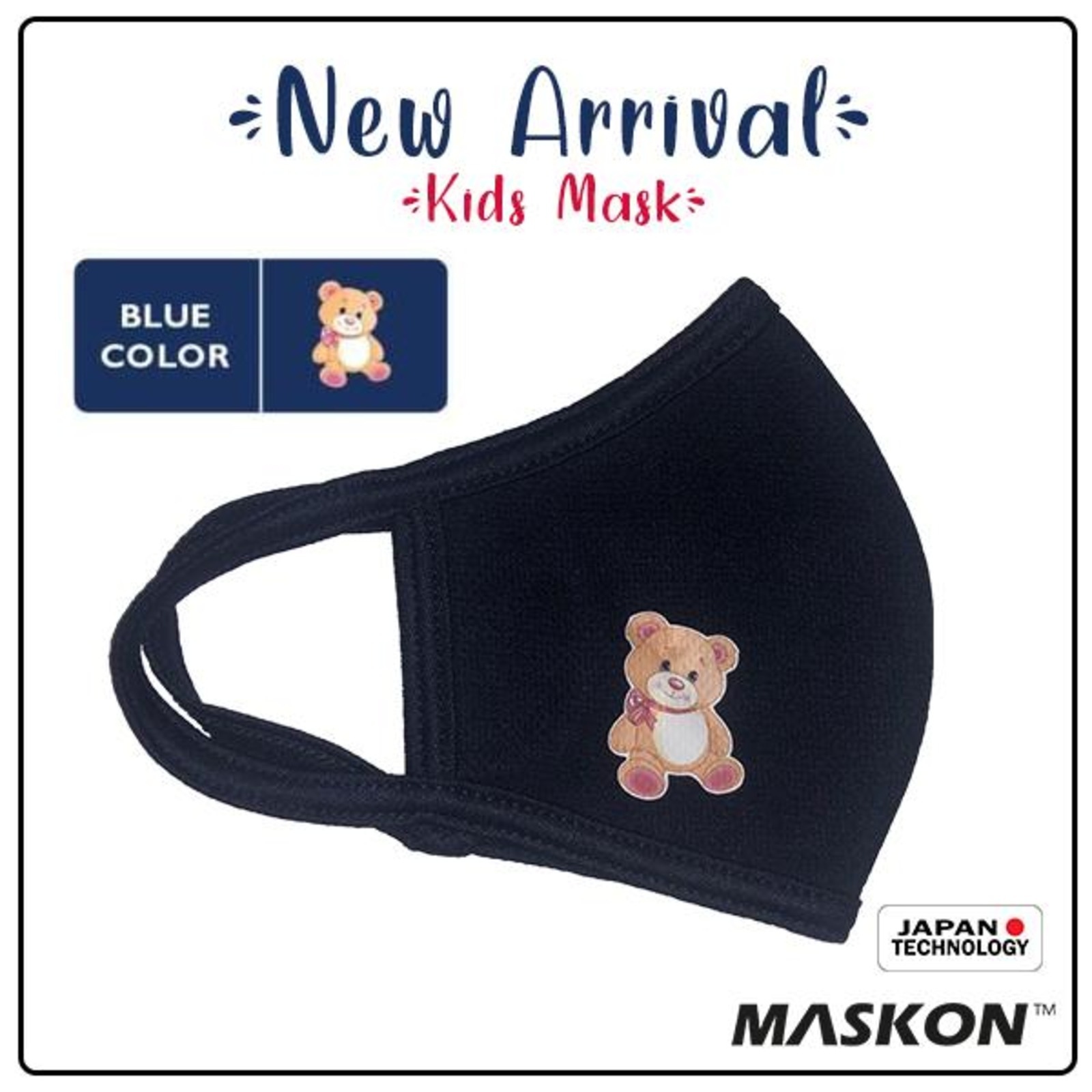 MaskOn Antimicrobial Face Mask - Kids (NAVY BLUE - BEAR)