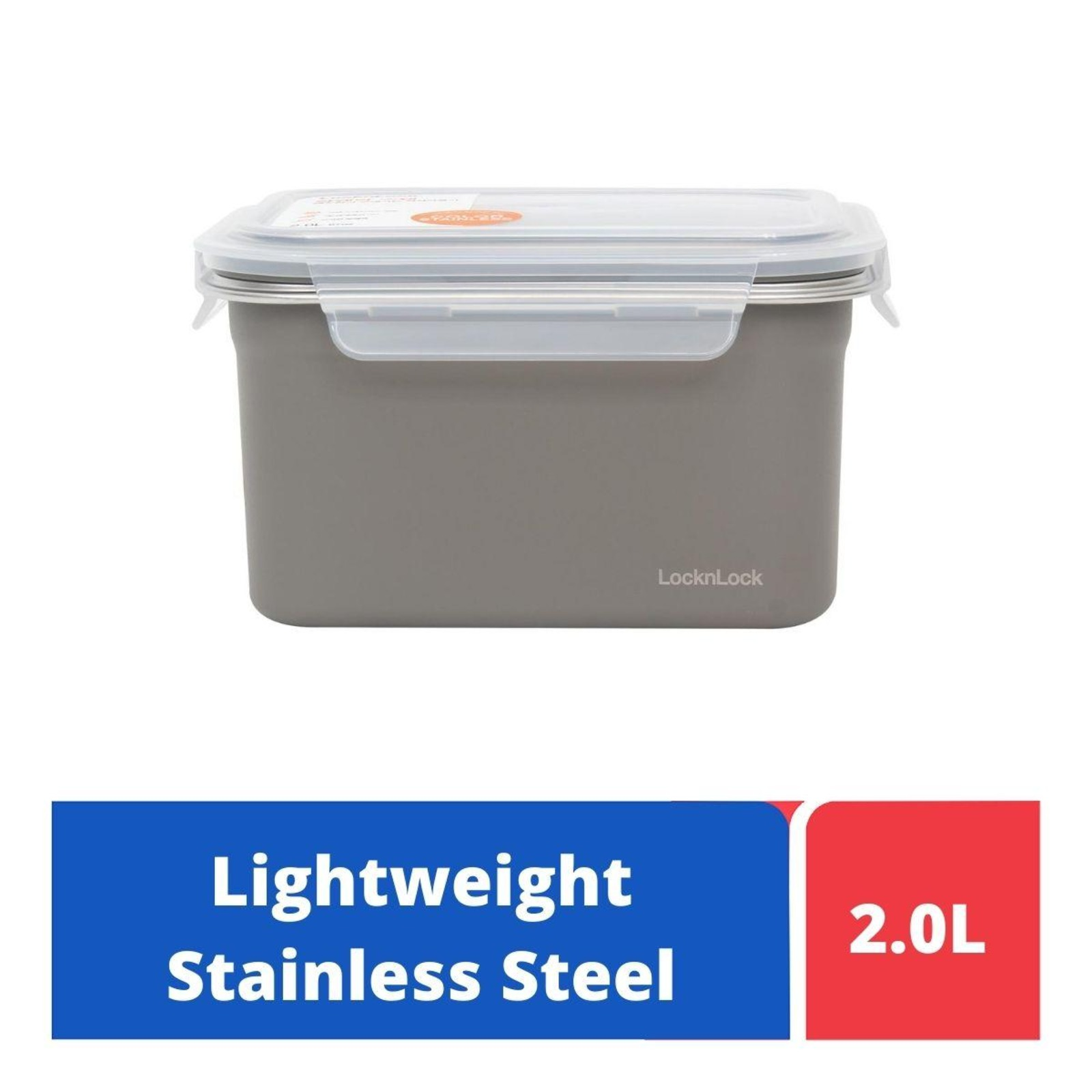 LOCK&LOCK Color Stainless Steel Food Container 2.0L - Grey