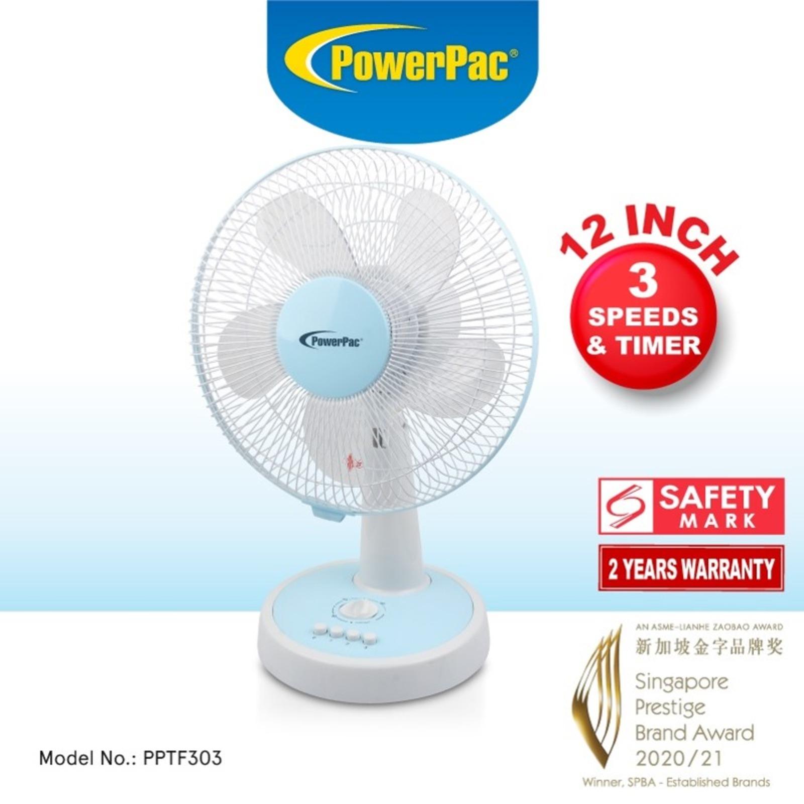 PowerPac (PPTF303) 12 Inch Desk Fan