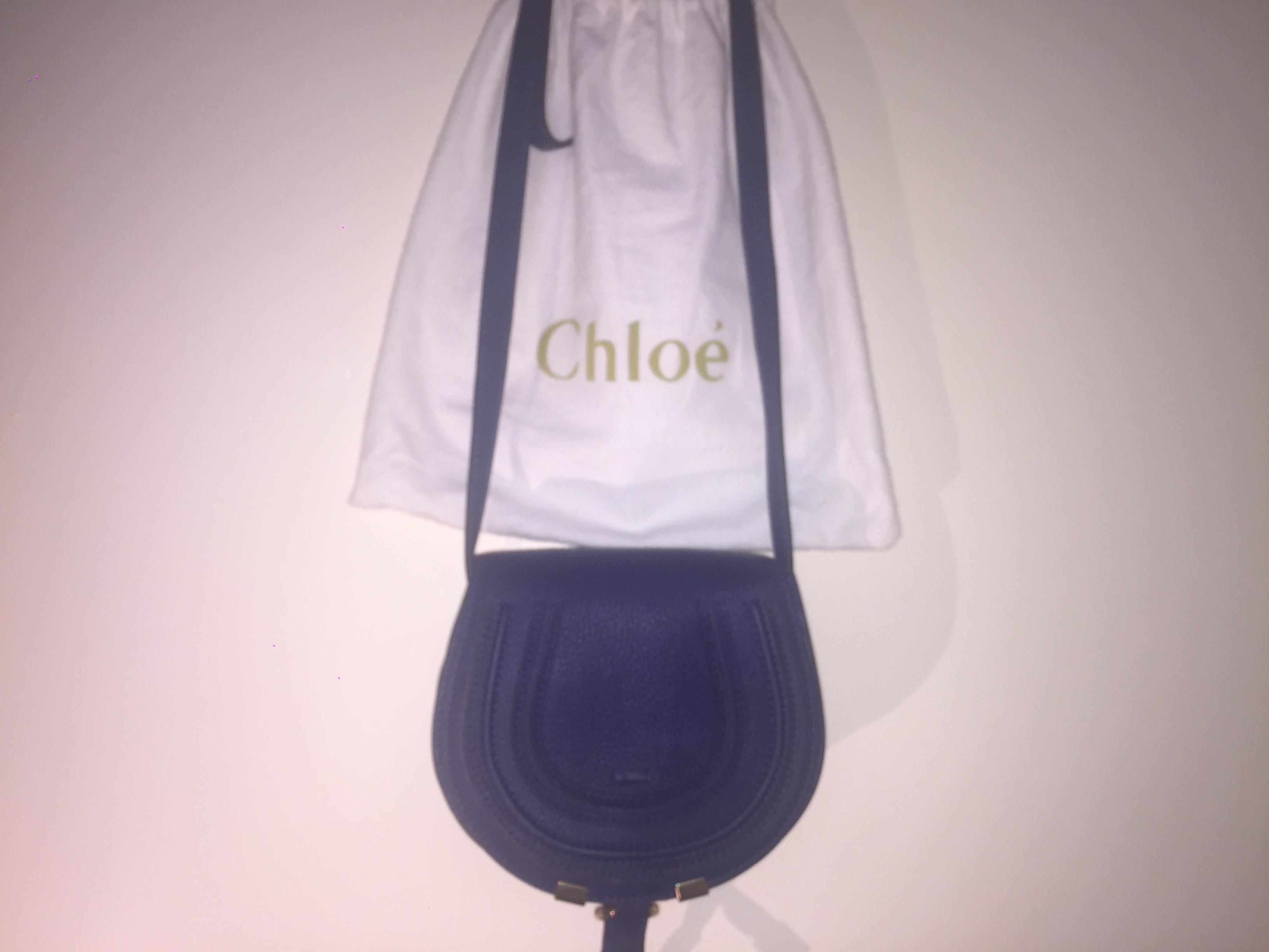0decf67c771 100% Authentic Chloé mini Marcie round bag in small grain calfskin, Navy  blue.