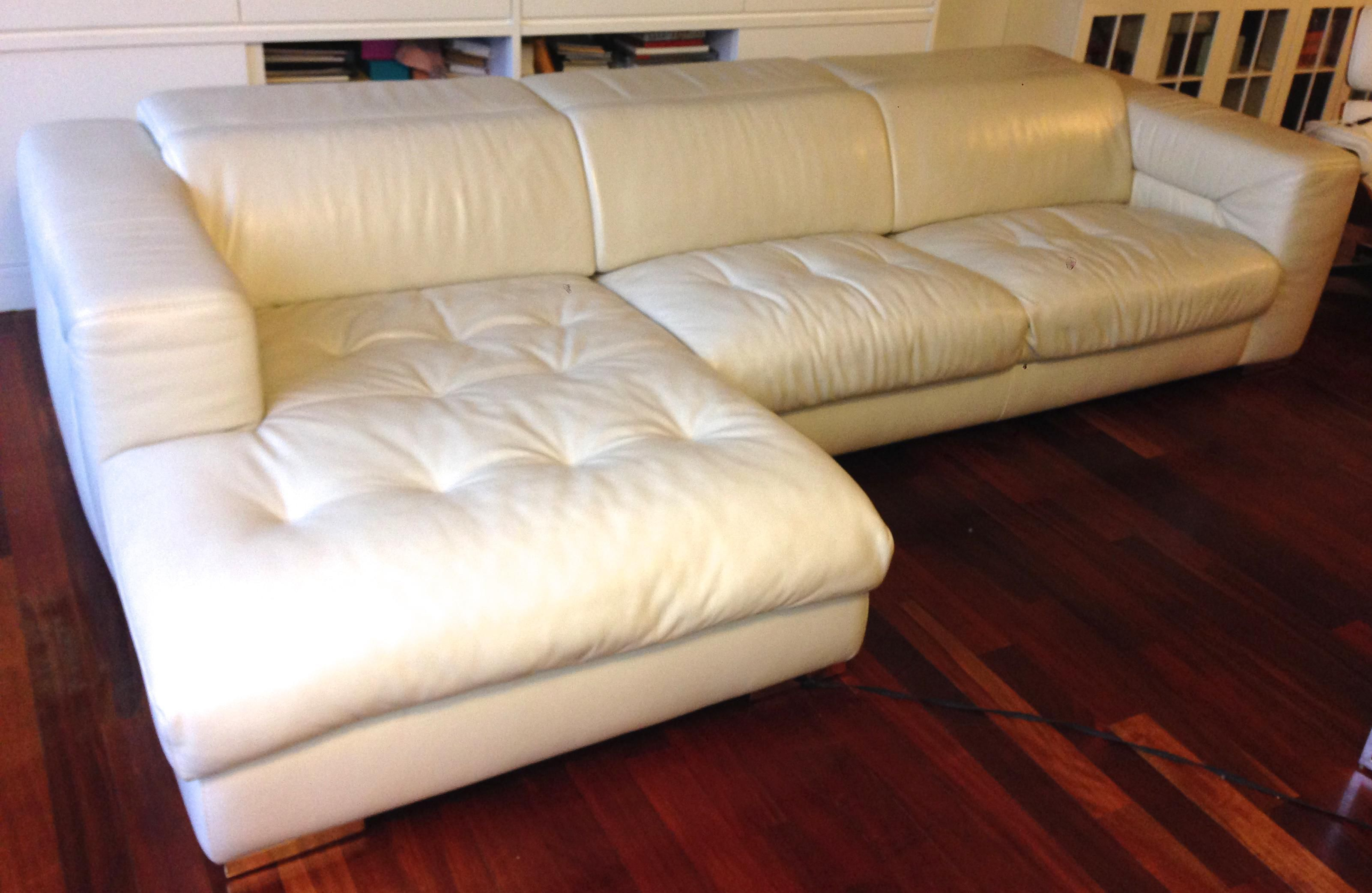 Cream coloured real leather sofa