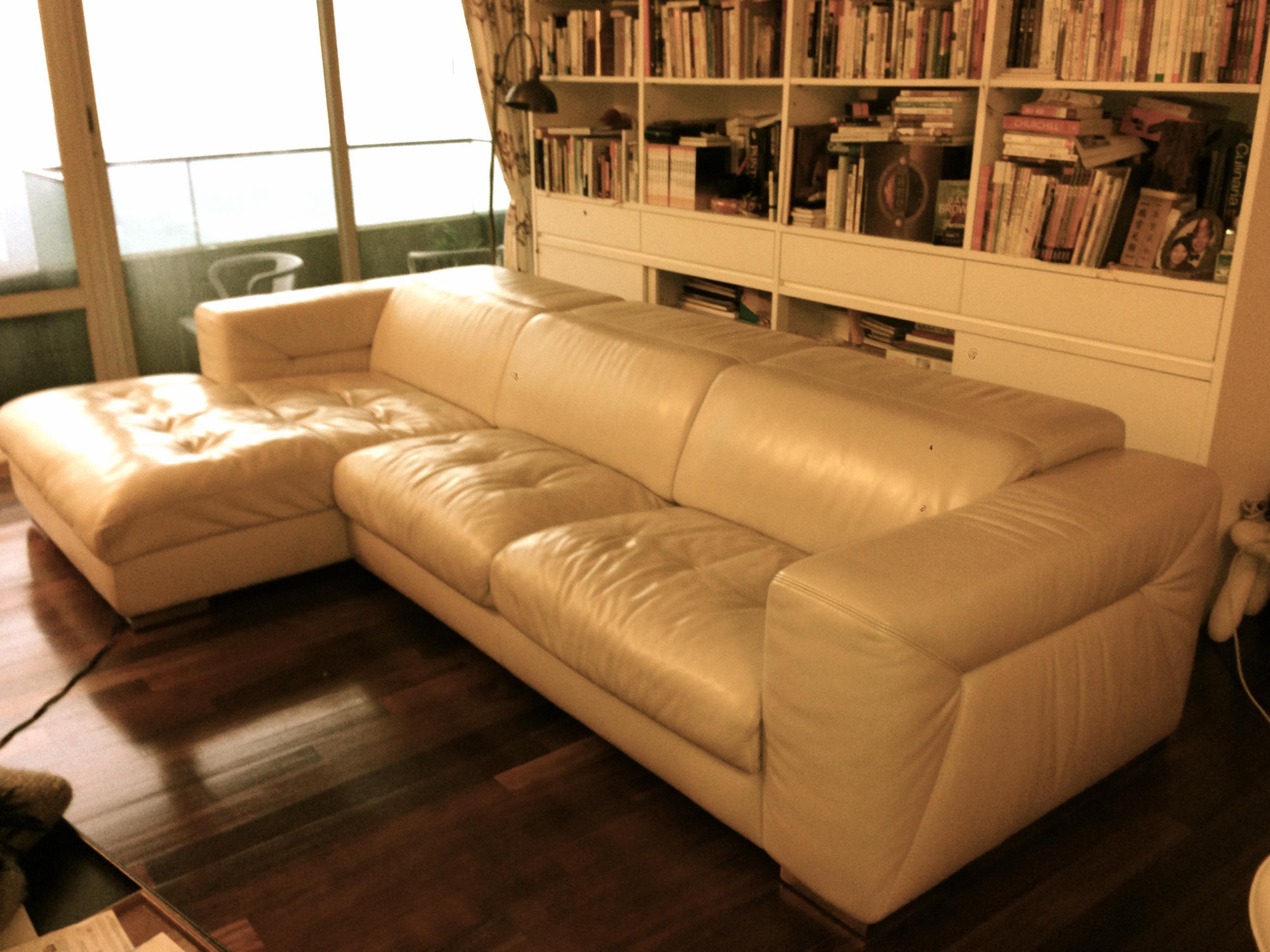 Cream Coloured Real Leather Sofa