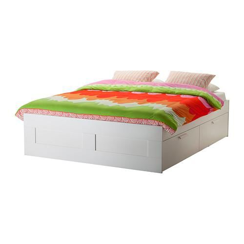 if have any interest pls contact me in whatapps mary lee 9096 4812 double bed frame - White Ikea Bed Frame