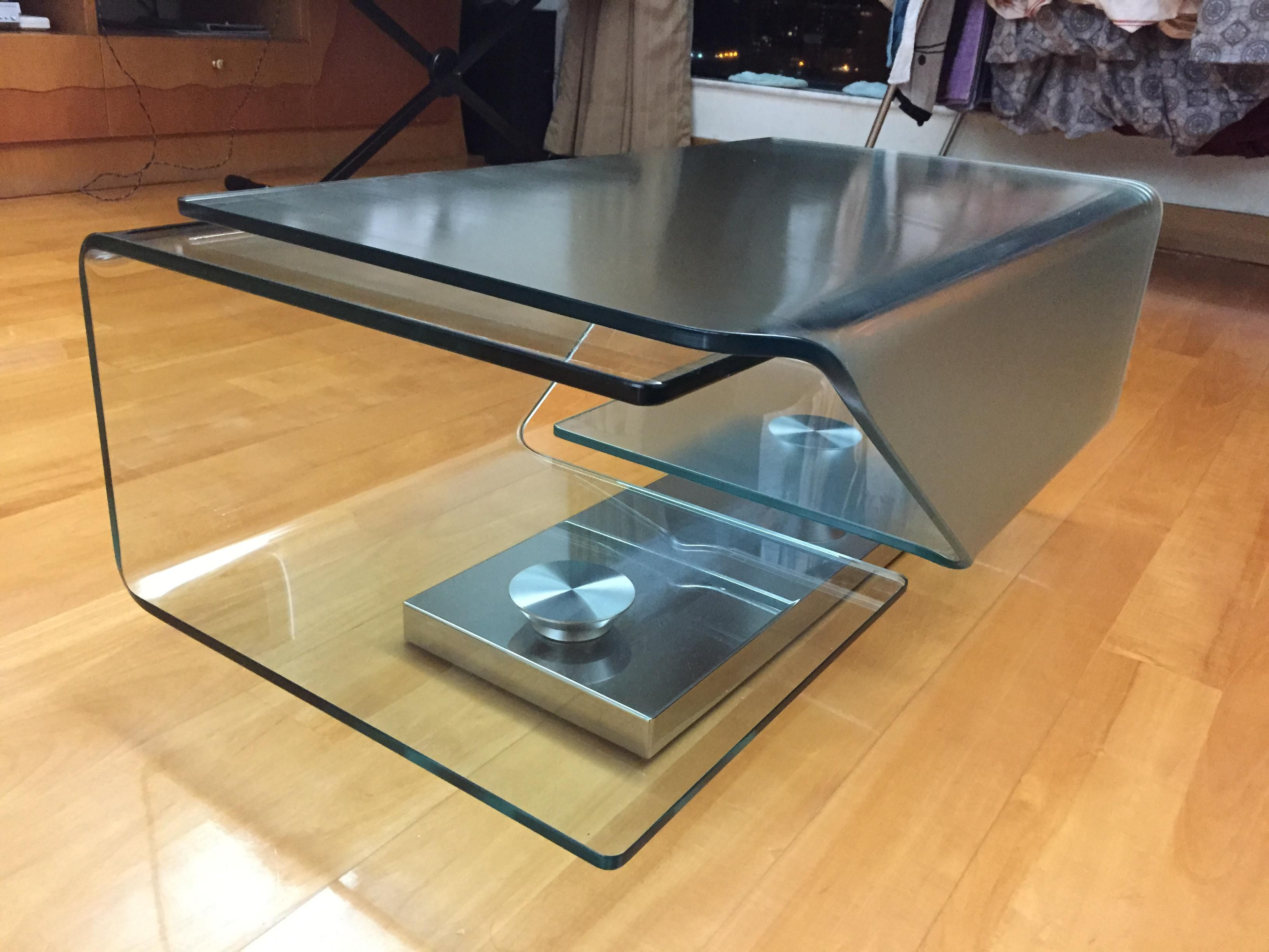 Frosted and Clear Glass Foldable Coffee Table