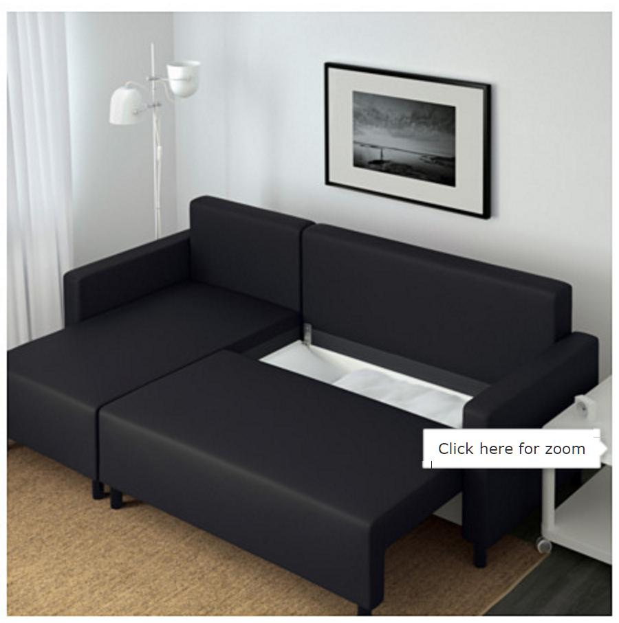Very new ikea black sofa chaise longue and double bed in for Chaise longue double exterieur