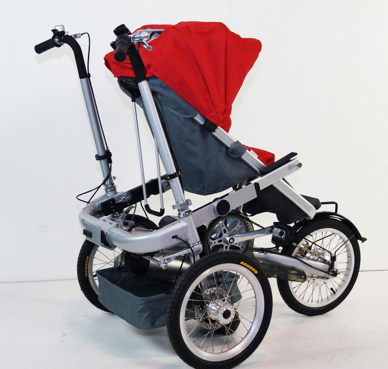 3 Wheels Electric Bicycle Mother Baby Stroller Bike Carrier Rideonecar