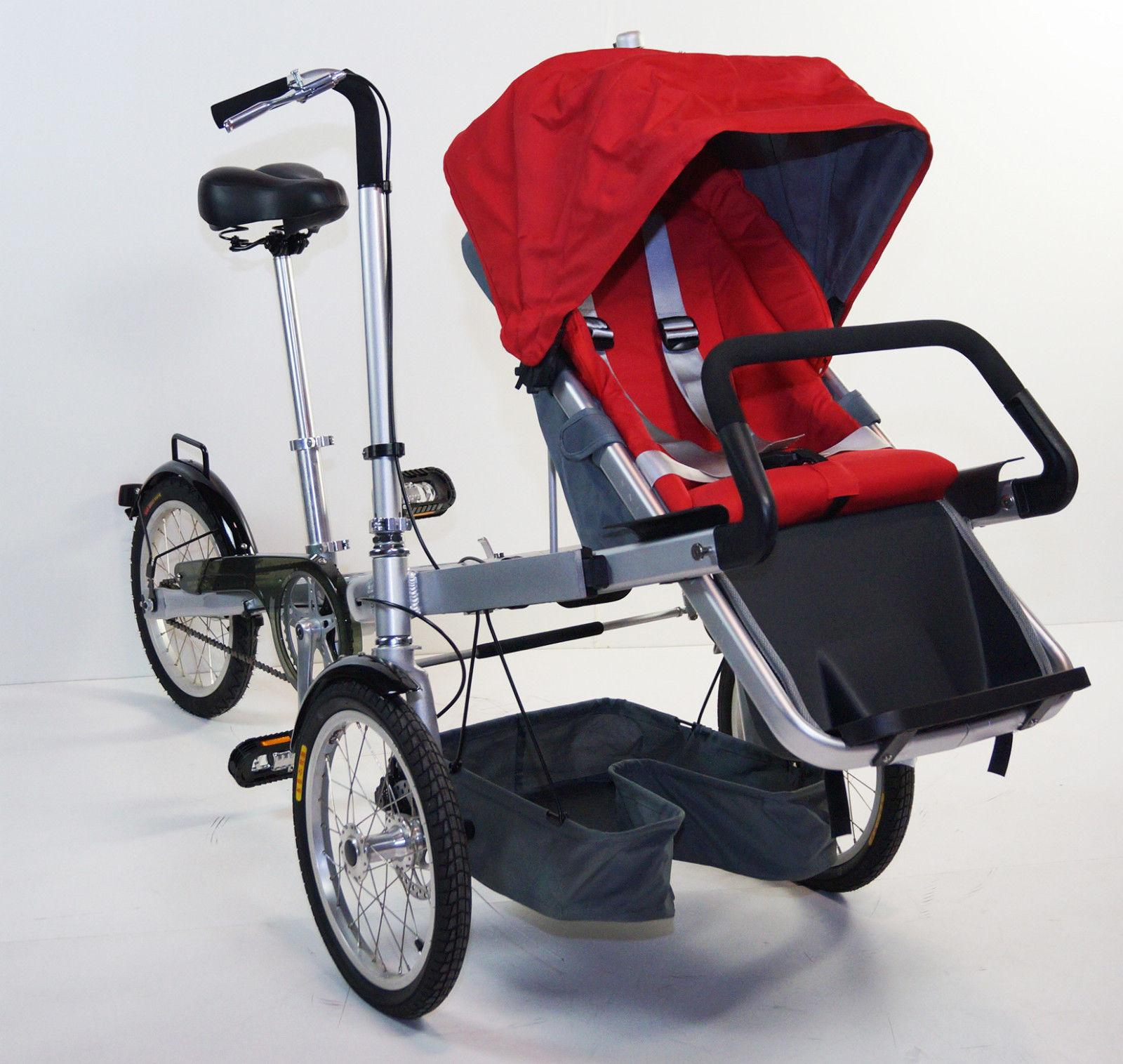 3 Wheels Folding Bicycle Pushchair Mother Baby Stroller Bike Carrier Rideonecar