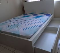 double bed with 4 storage drawers and mattress IKEA
