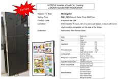 HITACHI Inverter x Dual Fan Cooling 2 Door Glass Refrigerator (Black) For Sale