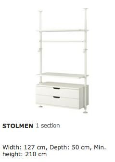 ikea stolmen open concept wardrobe system moving overseas. Black Bedroom Furniture Sets. Home Design Ideas