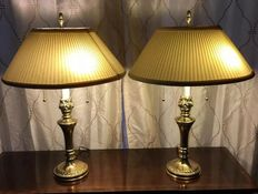 Pair STIFFEL Brass Trophy Urn Torch Flame Table Lamps Hollywood Regency