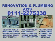 plumbing dan renovation 01112275338 azis taman melawati