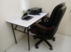 Working table and leather chair