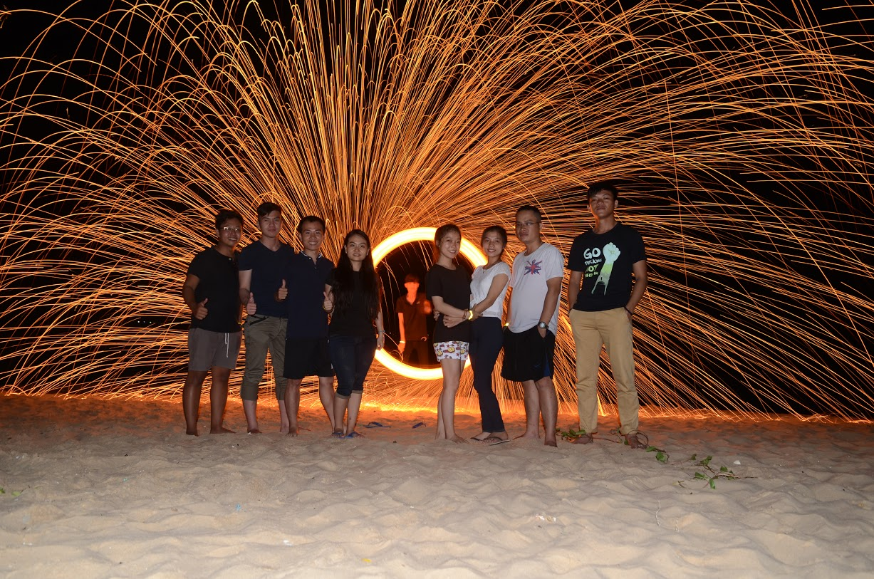 Steel wool spinning.
