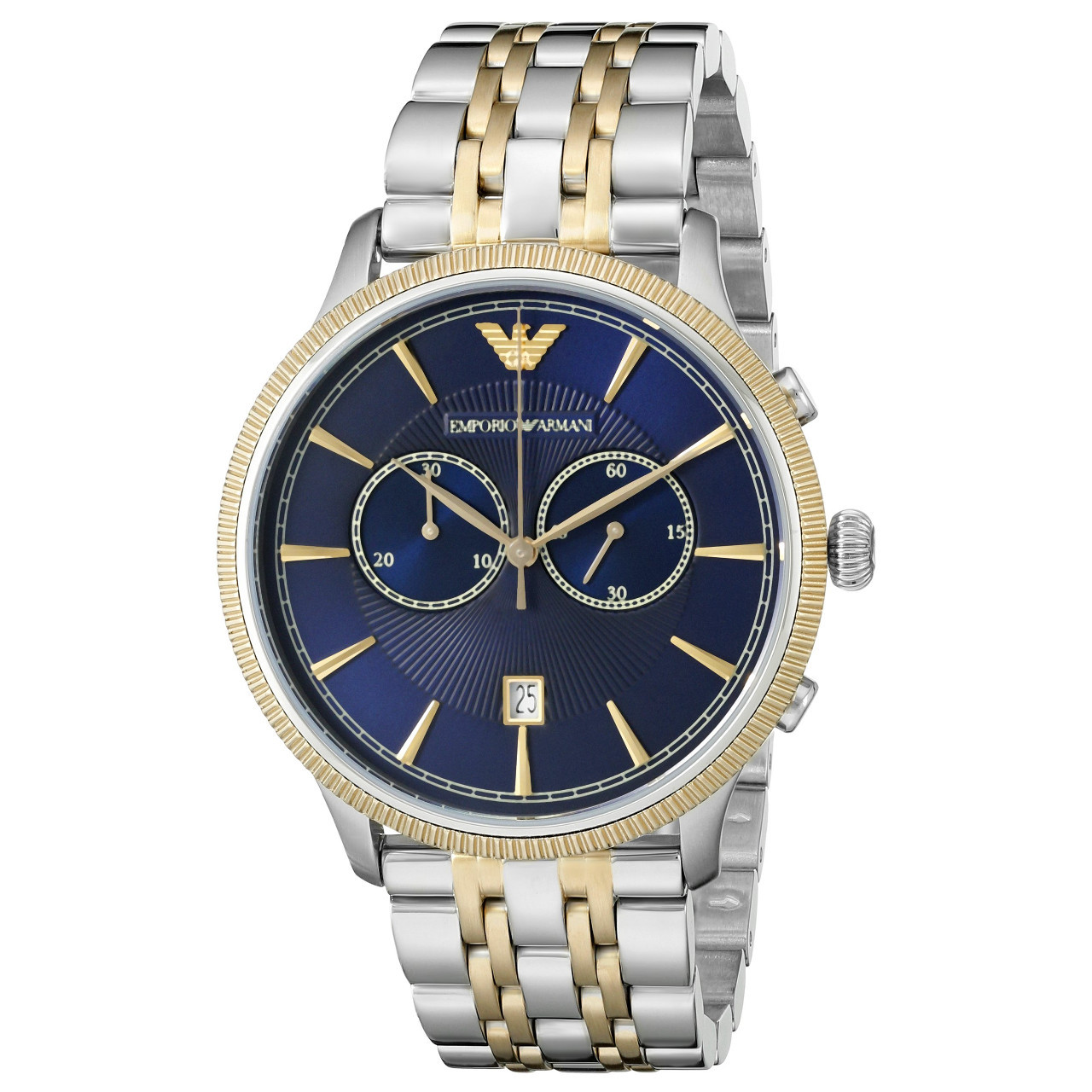 Emporio-Armani-AR1847-Classic-Blue-Dial-Two-tone-Stainless-Steel-Chronograph-Mens