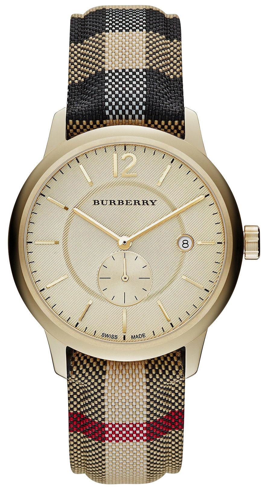 Burberry-Honey-Dial-Honey-Check-Fabric-Coated-Leather-Unisex-BU10001