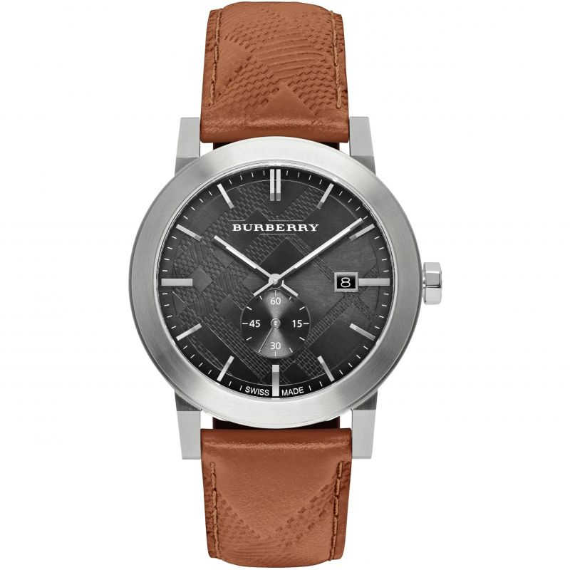 Burberry-Mens-The-City-Swiss-Black-Dial-Brown-Leather-42mm-BU9905