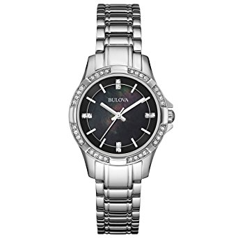 Bulova-96L214-Womens-Classic-Black-MOP-Dial-Stainless-Steel-Bracelet-Crystal-Watch