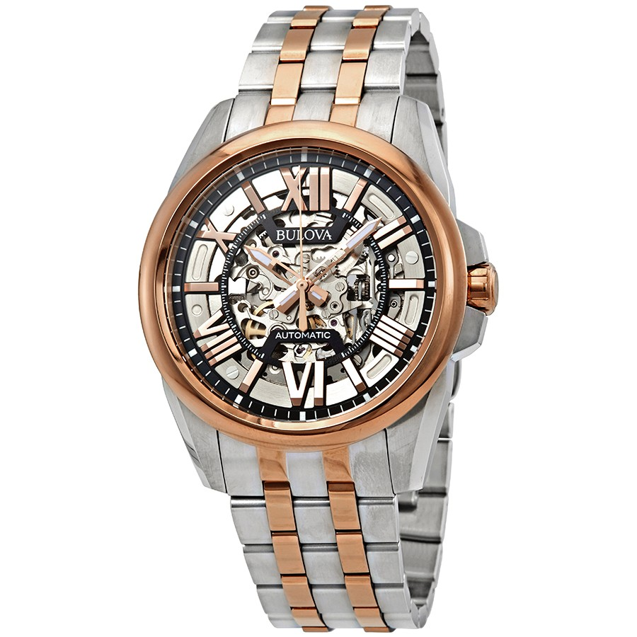 Bulova-Mens-Rose-Gold-Automatic-Skeleton-Case-Classic-98A166