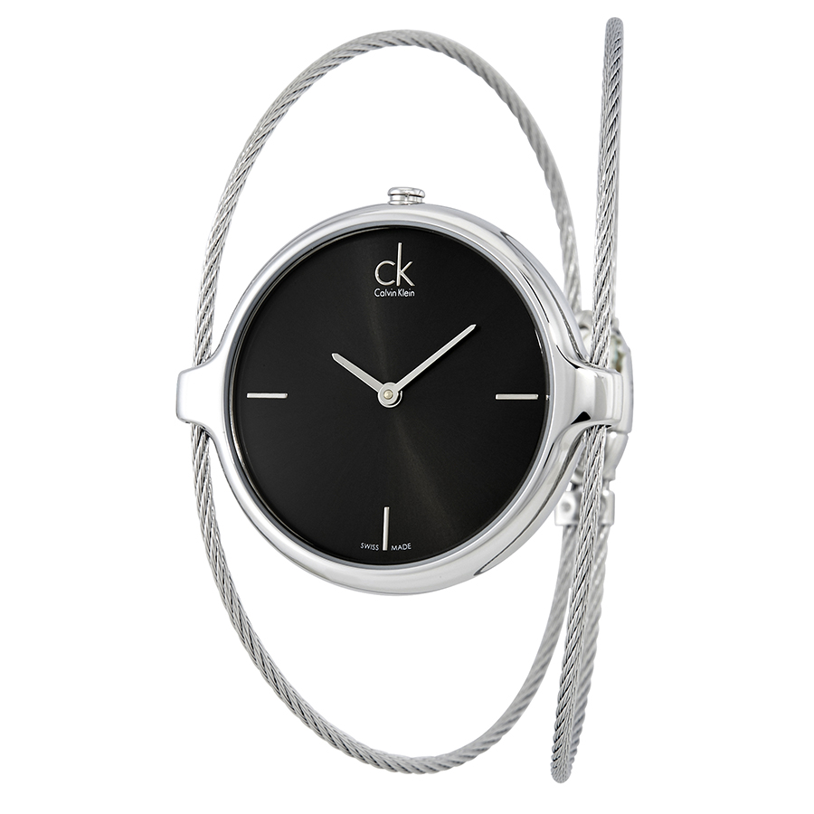 Calvin-Klein-Agile-Black-Dial-Ladies-Bangle-K2Z2M111