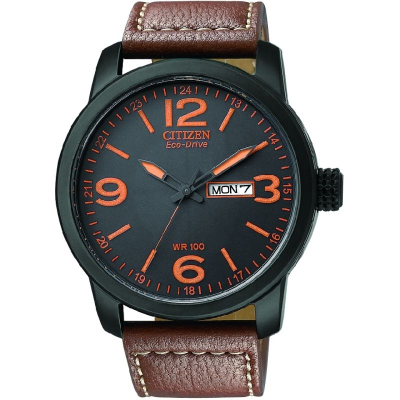 Citizen Eco-Drive Black Dial Brown Leather Mens BM8475-26E