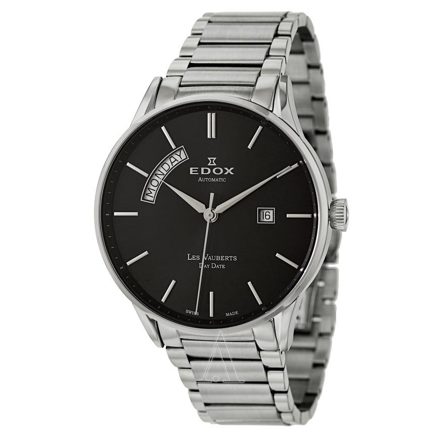 Edox-Mens-83011-3N-NIN-Les-Vauberts-Automatic-Black-Dial-Stainless-Steel-Watch