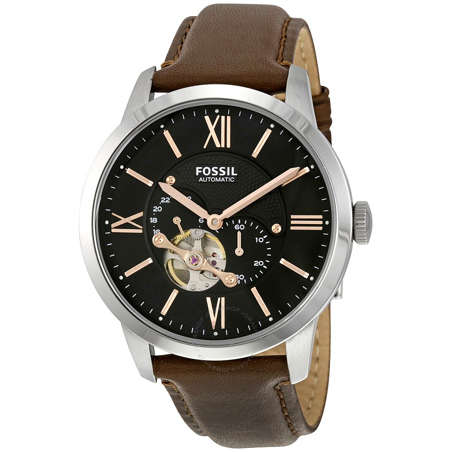FOSSIL-Townsman-Mechanical-Black-Dial-Brown-Leather-Mens-Watch-ME3061