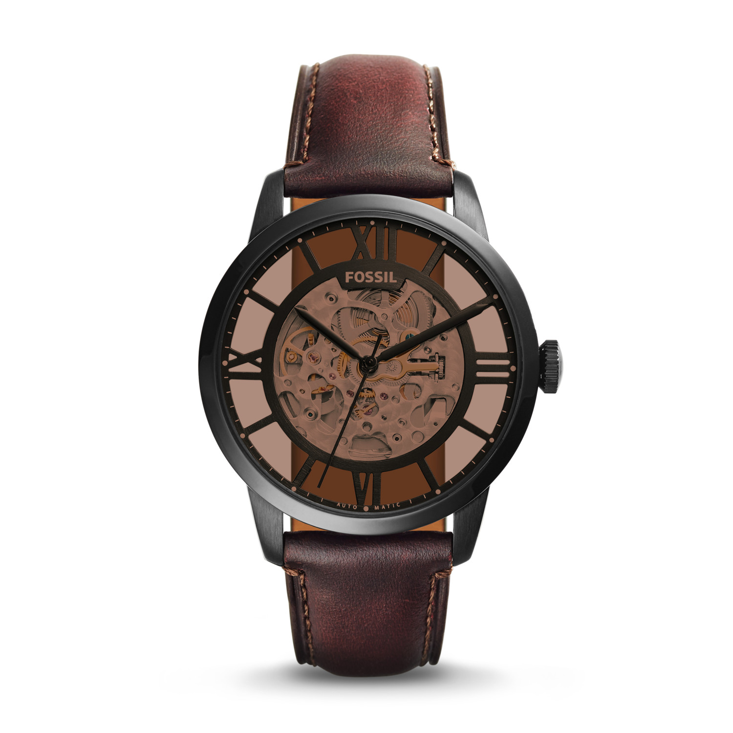 Fossil ME3098 Townsman Automatic Brown Skeleton Dial Mens Watch