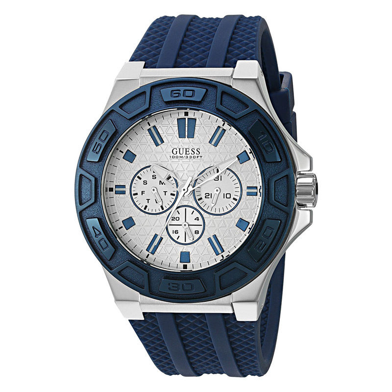 GUESS-Men-U0674G4-Silver-Tone-Multi-Function-Watch-with-Iconic-Blue-Silicone-Strap