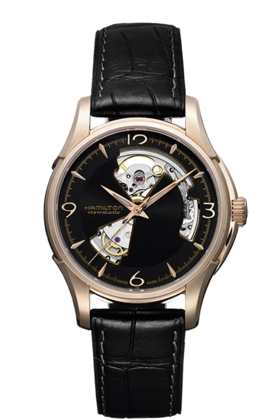 Hamilton Jazzmaster Open Heart Rose Gold Plated Case Automatic Mens H32575735