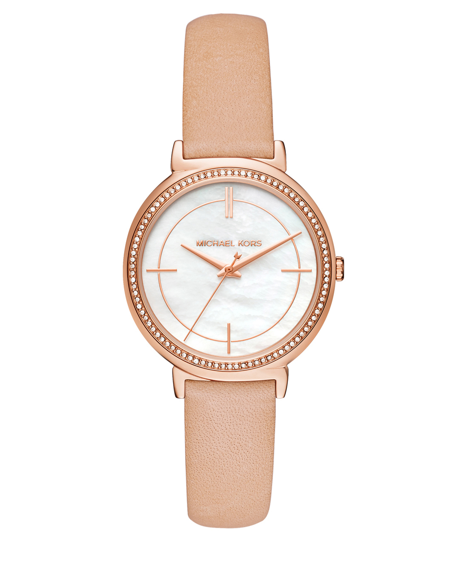 Michael-Kors-Women-Cinthia-Rose-Gold-Tone-and-Nude-Leather-Watch-MK2713
