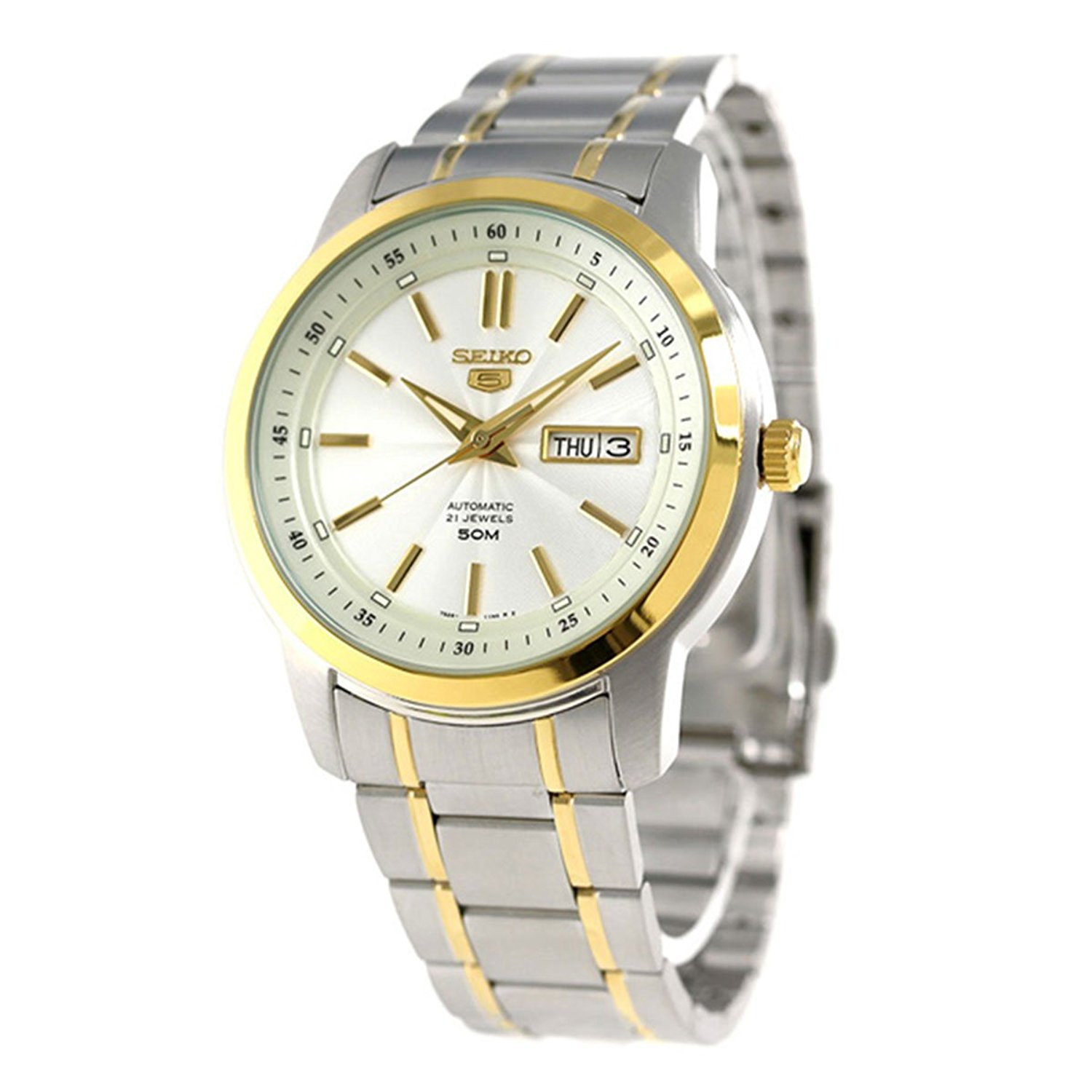 Seiko-5-Automatic-SNKM92K1-Mens-Analog-White-Business-Automatic-Seiko