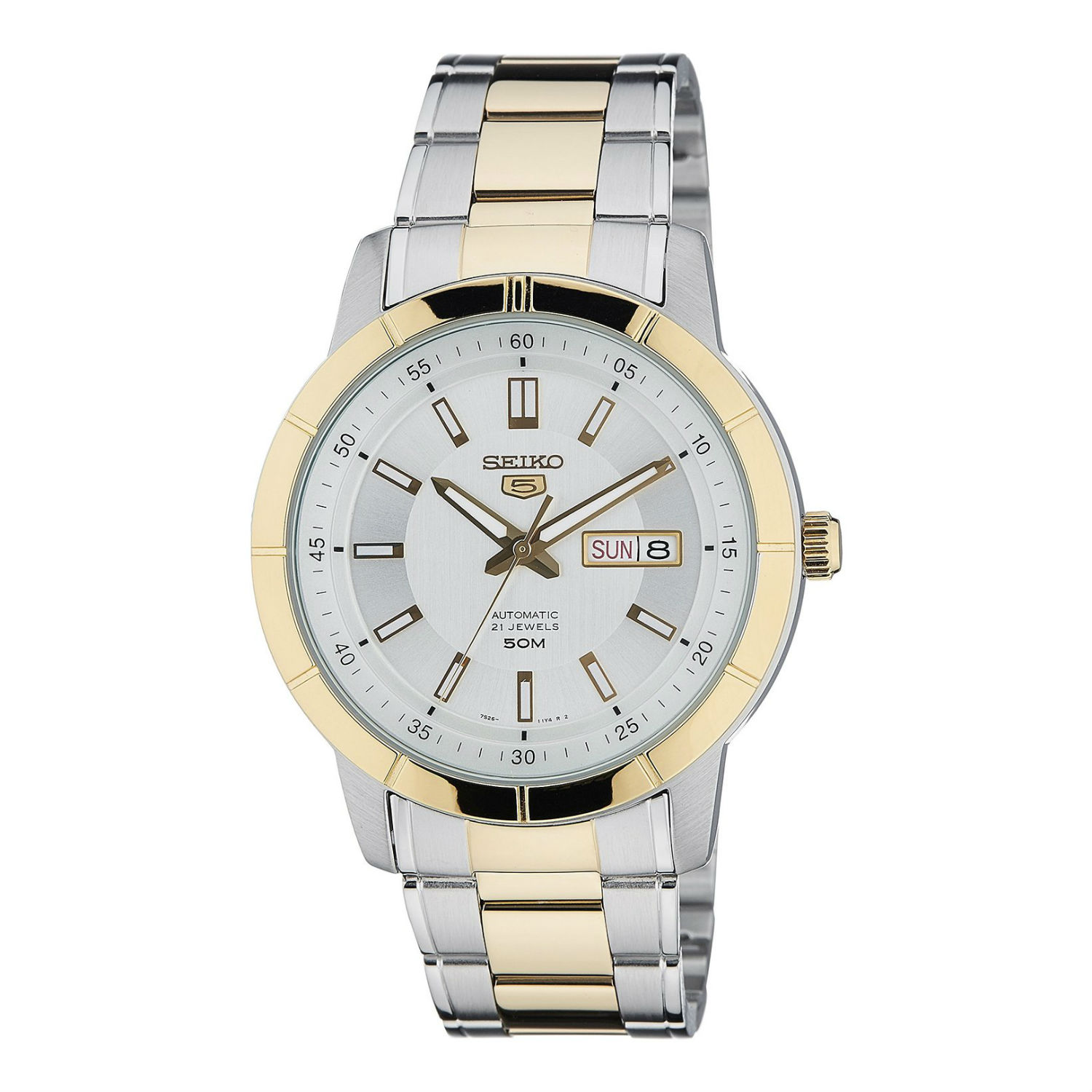 Seiko-5-Sports-SNKN58K1-Automatic-Silver-Dial-Dual-Tone-Stainless-Steel-Strap