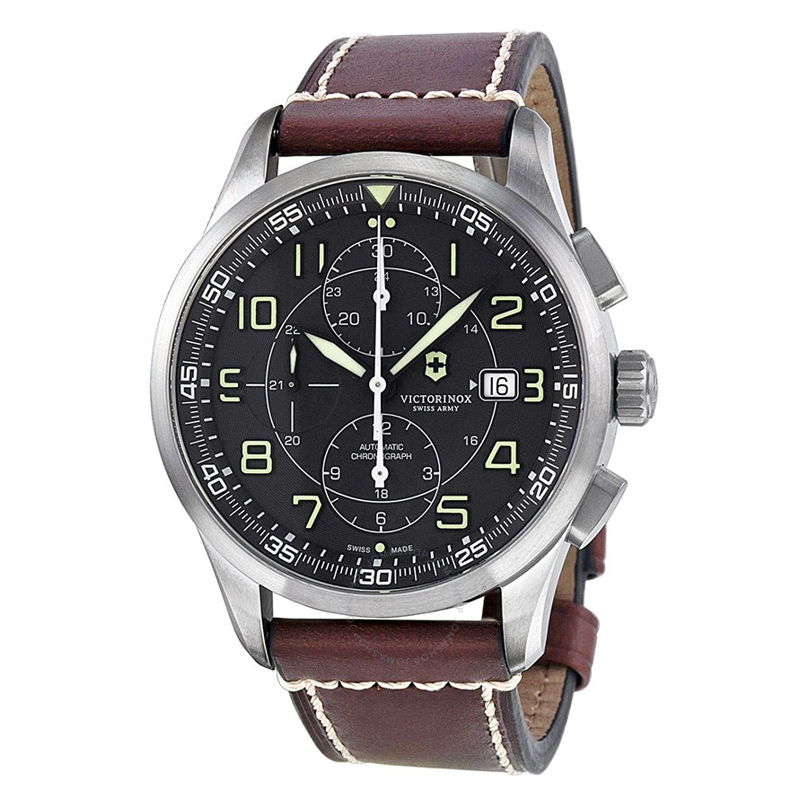Victorinox-AirBoss-Chronograph-Mechanical-Black-Dial-Brown-Leather-Mens-241597