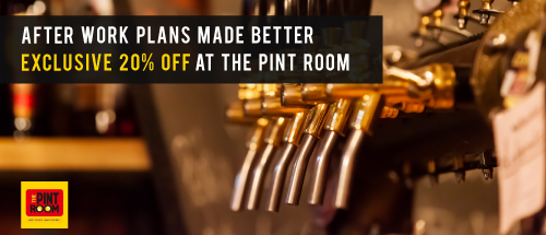 Book a Zoomcar and get  20% off at Pint Room on Food and beverage .