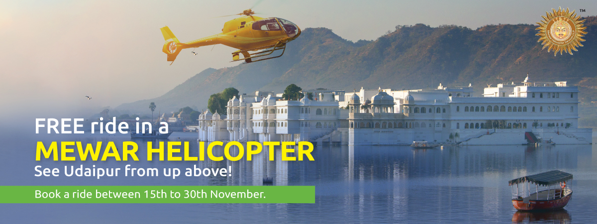 Book a Zoomcar between 15th to 30th November 2019, 6 lucky winners get to enjoy a FREE ride in a Mewar helicopter and see Udaipur from up above.