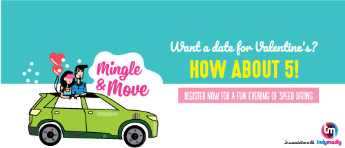 This Valentine's Day, TrulyMadly and Zoomcar invite you to register for a fun evening of speed dating!