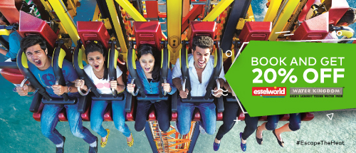 Get 20% off on your Water Kingdom tickets and 20% off on booking Pay n Play Silver package at EsselWorld on single party entry tickets.<br>