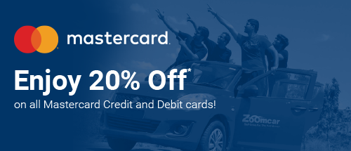 Get 20% off on ZoomCar Booking using Mastercard users.