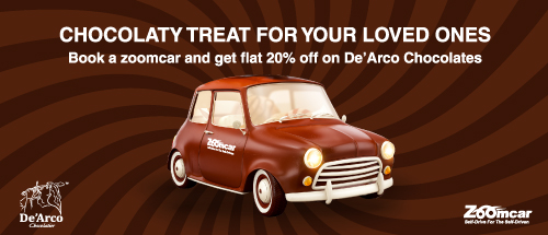 De'Arco Chocolates alliance with 20% off for Zoomcar customers