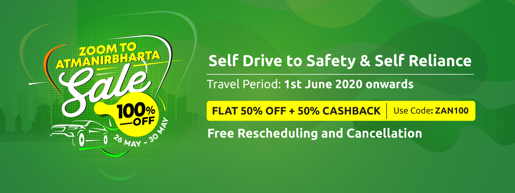 Get Flat 100% OFF* on Zoomcar