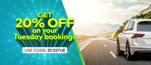 Get 20% off on your tuesday bookings!