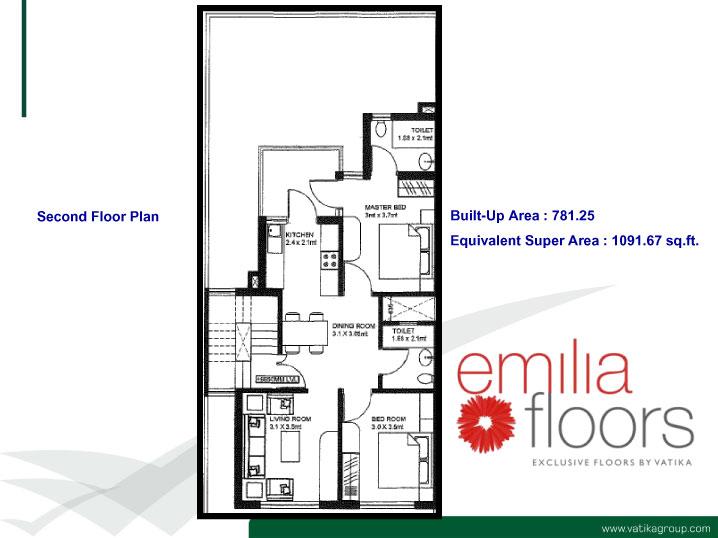 2bhk independent floor in resale at vatika emilia floors for Best flooring for resale value